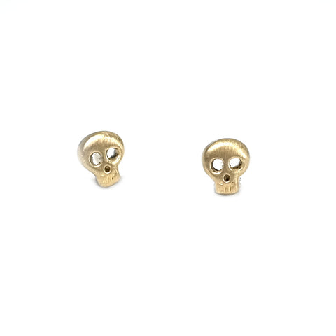 tiny gold skull stud earrings by michelle chang