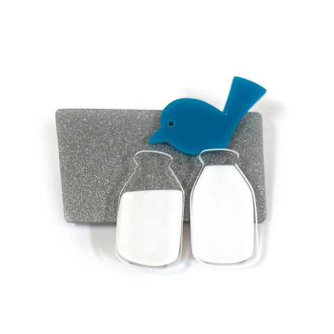 Cute acrylic blue bird and milk bottles brooch on silver base