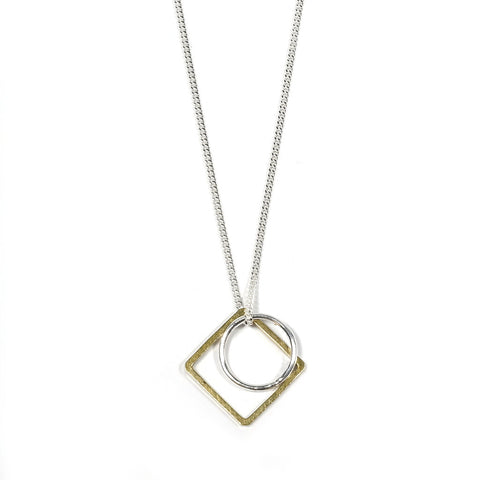 Brass and Silver Geometric Charm Mini Sector Necklace