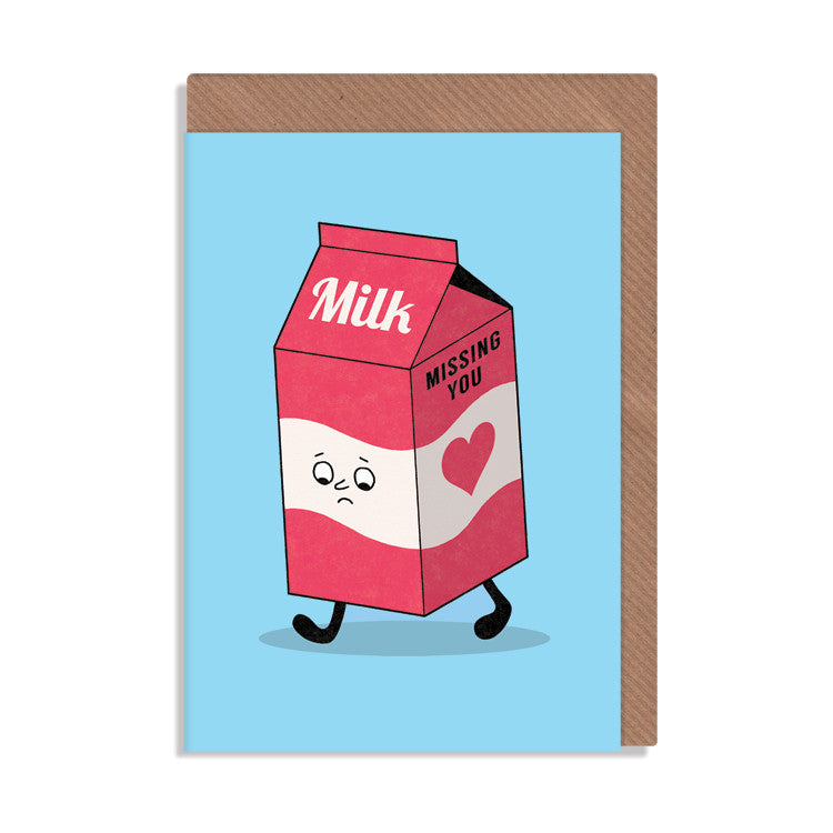 milk carton missing you greetings card by robbie porter