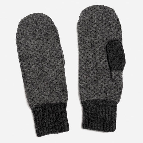 Doric Lambswool Mittens in Charcoal and Grey by Hilary Grant