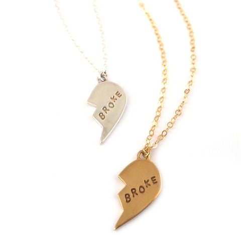 gold and silver BROKE broken heart necklace
