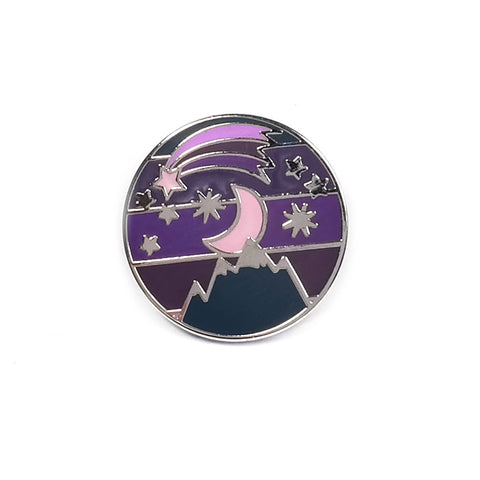 Night Sky Moon and Stars Purple Enamel Pin