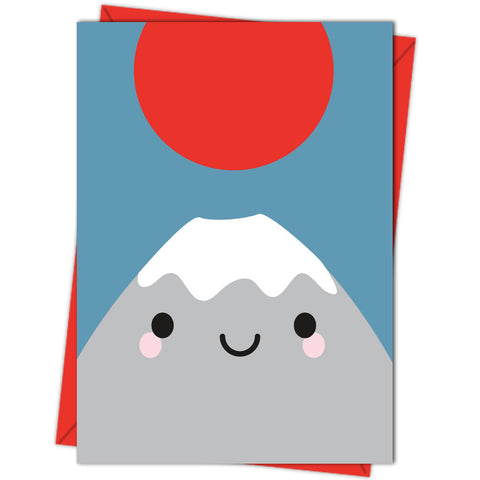 happy mt fuji cute kawaii illustrated blank greeting card