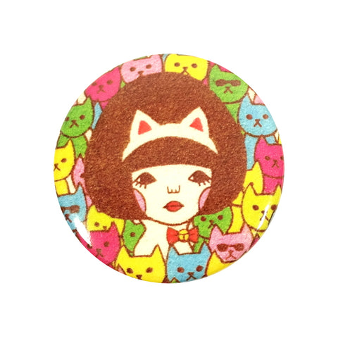 Girl in Cat Ears and Colourful Kittens Sunae Pin Badge