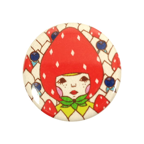 Cute Strawberry Hat Sunae Print Pin Badge