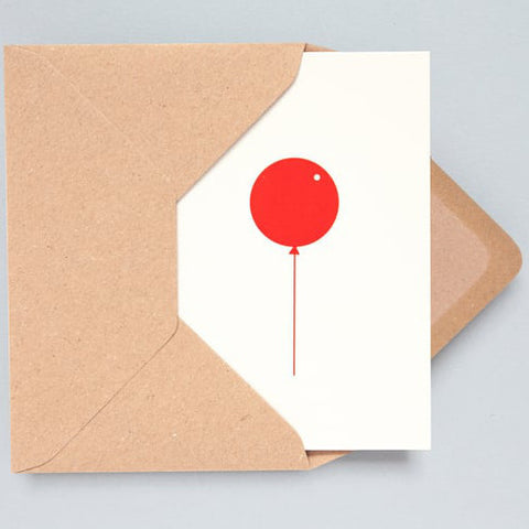 Balloon Foil Card in Stone and Red