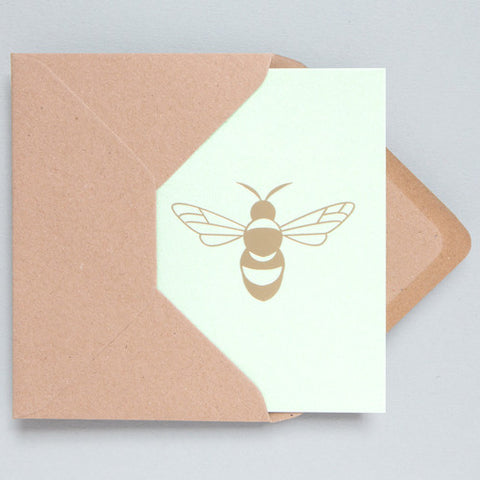 Bee Foil Card in Mint and Brass