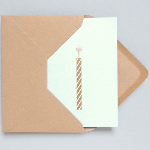 Candle Foil Card in Mint and Brass