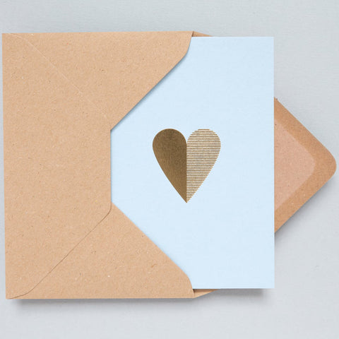 Heart Foil Card in Blue and Brass
