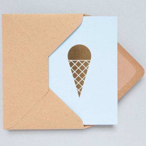 brass foil and light blue ice cream greeting card