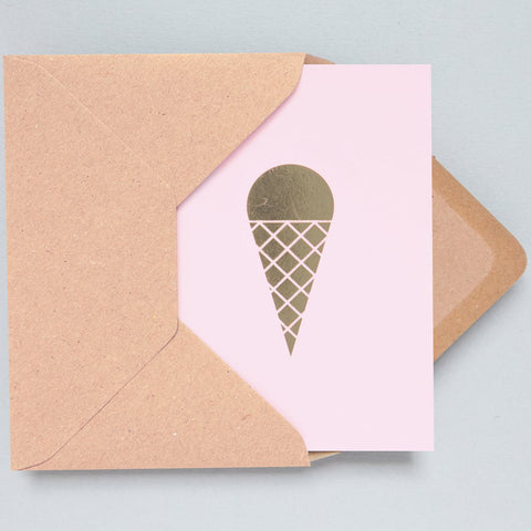 Ice Cream Foil Card in Pink and Brass