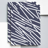 Navy and white line patterned A5 notebook