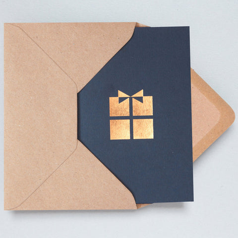 Present Foil Card in Navy and Rose Gold