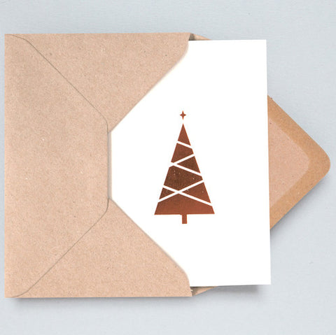 Tree Foil Card in Stone and Copper