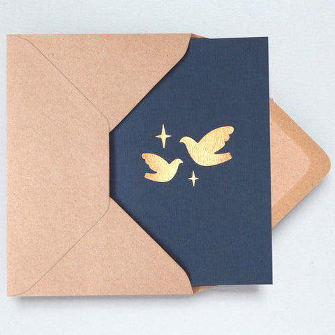 Two Doves Foil Card in Navy and Rose Gold