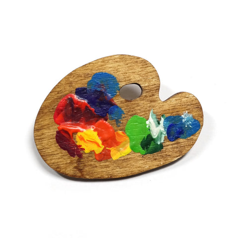 Wooden Painters Palette Brooch by Kate Rowland