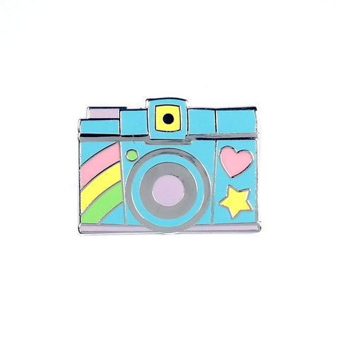 Pastel Colour Retro Camera Enamel Pin with Rainbow Heart and Star