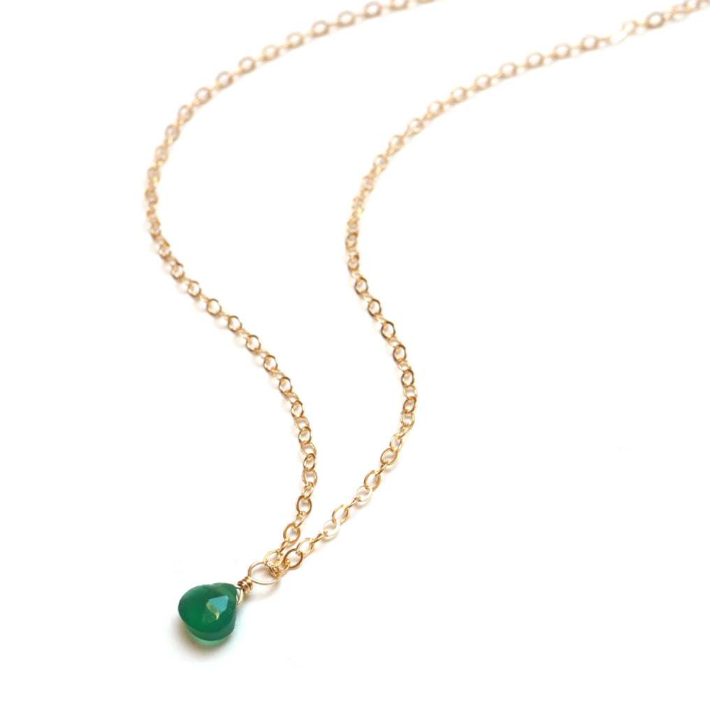 main image of Petite Gemstone Necklace in Green Onyx