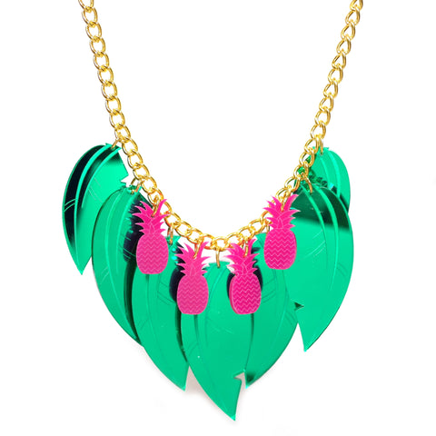 Pink Pineapple Tropical Leaf Necklace