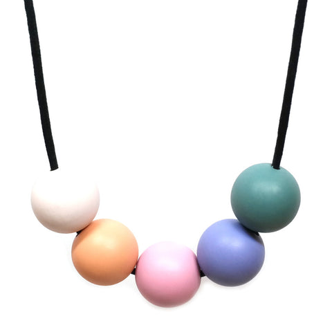 Lima Large 5 Bead Necklace - Teal, Cornflower, Pink, Peach and White