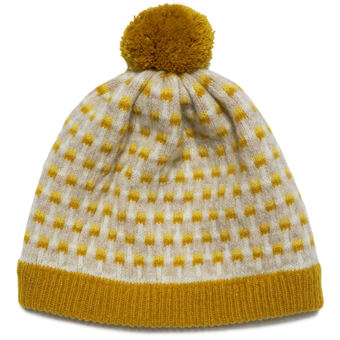 Basket Pom Hat in Mustard