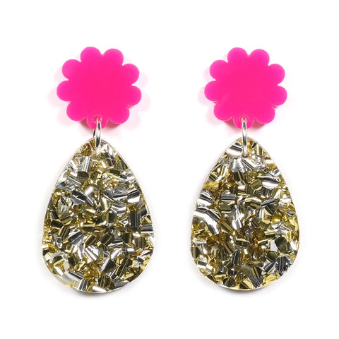 Poppy Drops Earrings in Pink and Gold Glitter