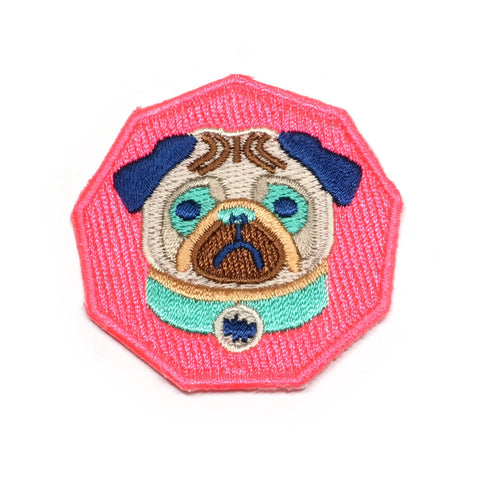 Neon Pug Iron-On Patch
