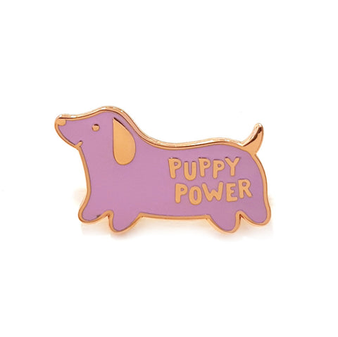 purple puppy power enamel pin brooch by sparkle collective