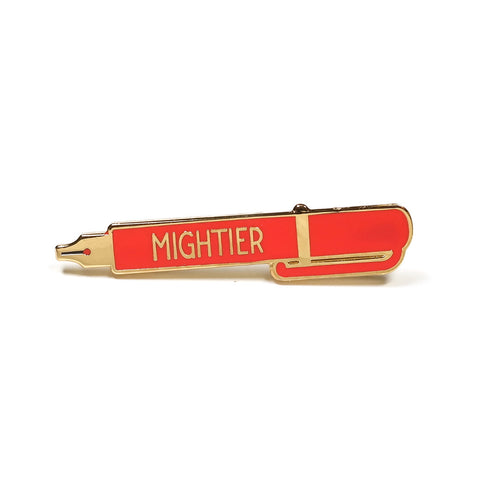 pen is mightier than sword red gold enamel pin by rock cakes