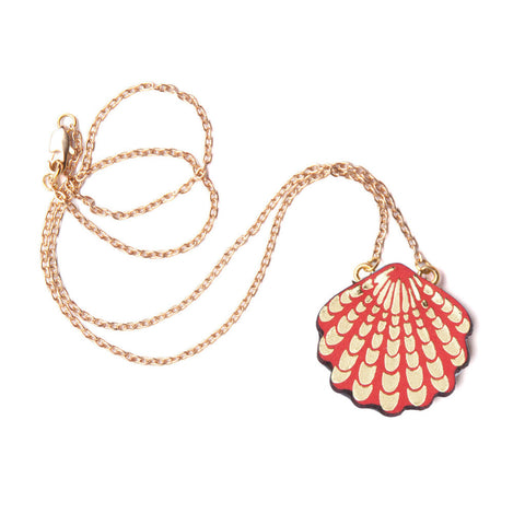 Wave Shell Necklace in Red