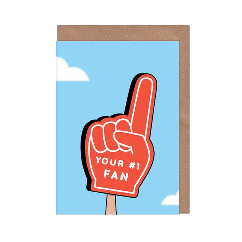 Number One Fan Card - greeting card with brown envelope, featuring illustrated sports foam hand.