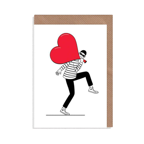 A Valentine's Day Card with a monochrome cartoon burglar stealing a heart in a red swag bag. With brown envelope.