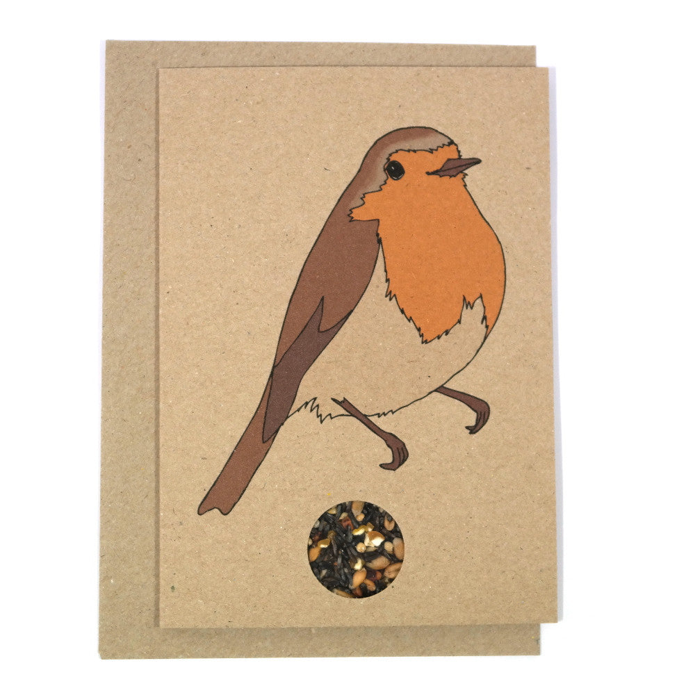 Brown Kraft card with illustrated robin and containing a bird seed sachet