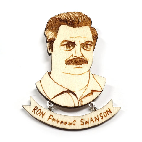 Wooden Ron Swanson Portrait Brooch by Kate Rowland