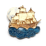 acrylic and wood pirate ship sailing brooch by kate rowland