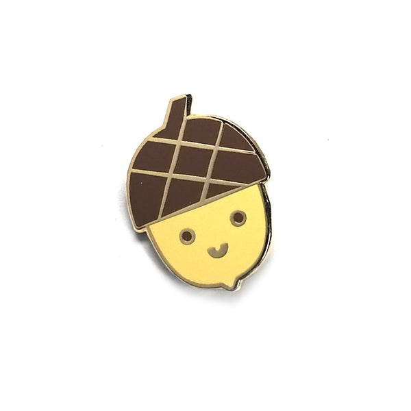 happy acorn cute enamel metal pin brooch