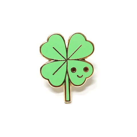 miniature enamel lucky clover pin with smiley face by scout editions