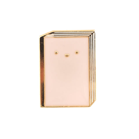 Cute pastel pink book enamel lapel pin