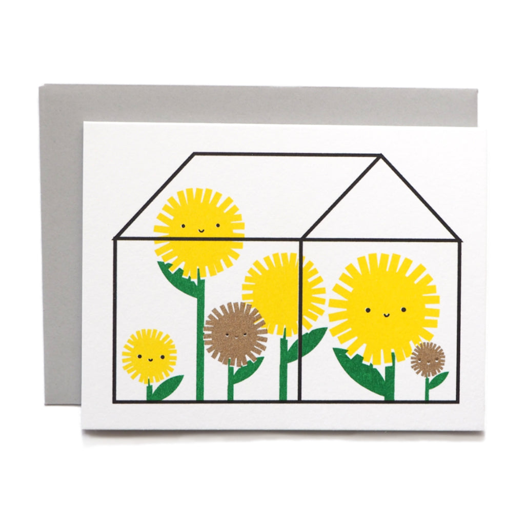 Risograph printed mini card - Sunflowers in Greenhouse
