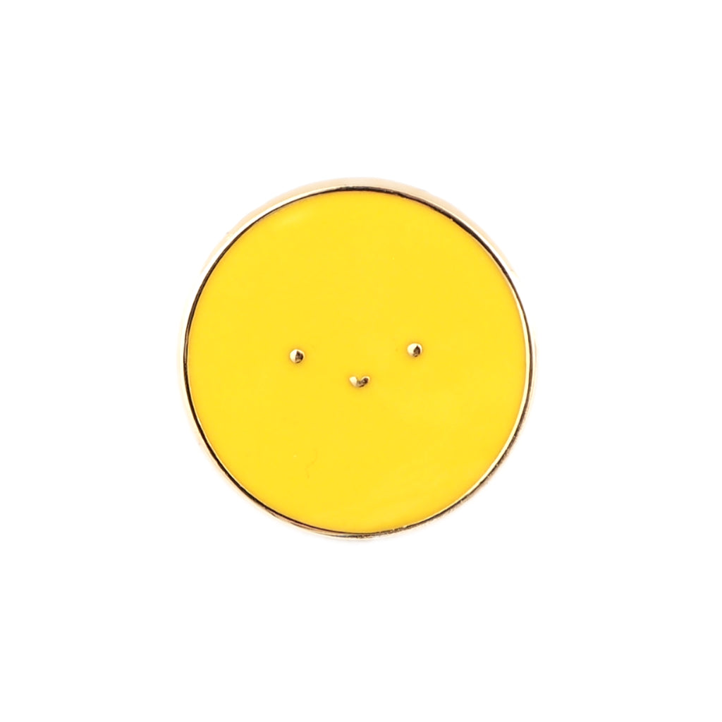 Golden Hour Sun enamel pin - yellow circle badge with happy face