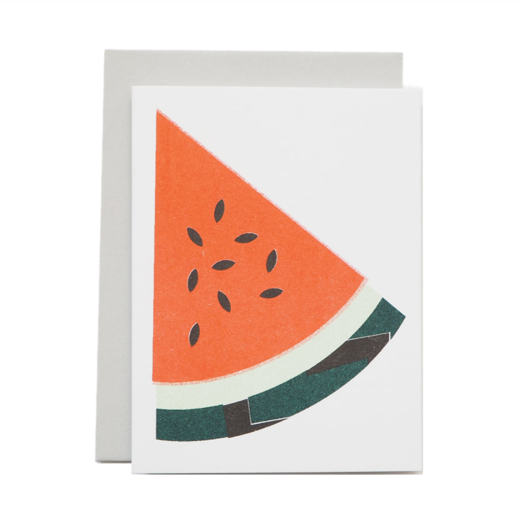 Scout Editions risograph mini greeting card with Watermelon Slice design