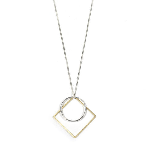 Brass and Silver Geometric Charm Sector Necklace
