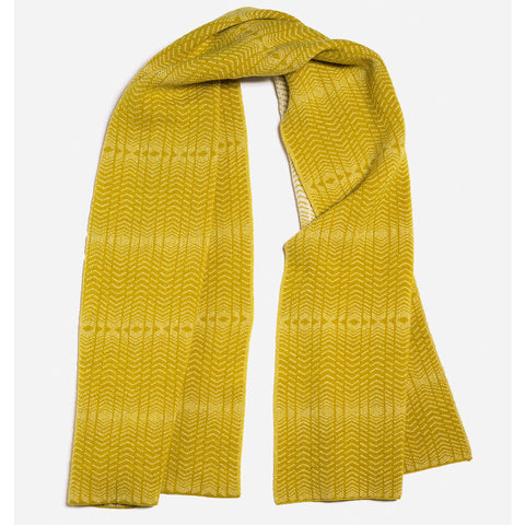 Brackish Lambswool Shawl in Mustard and White by Hilary Grant