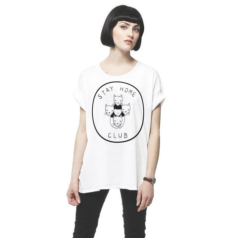 Stay Home Club T-Shirt in White