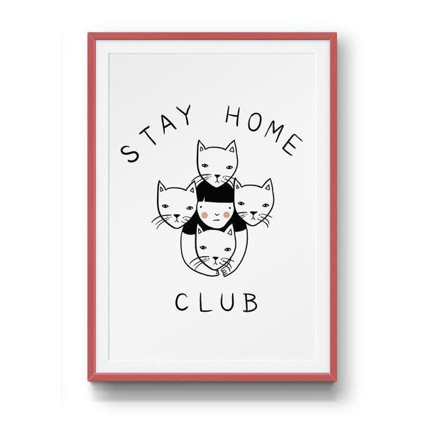 stay home club cat logo affordable art print