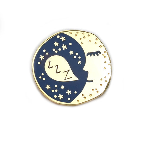 Sleepy Moon Pin in Gold