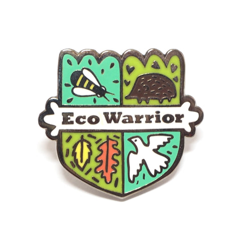 Eco Warrior Enamel Pin Design of Shield with Bee Hedgehog Dove Leaves