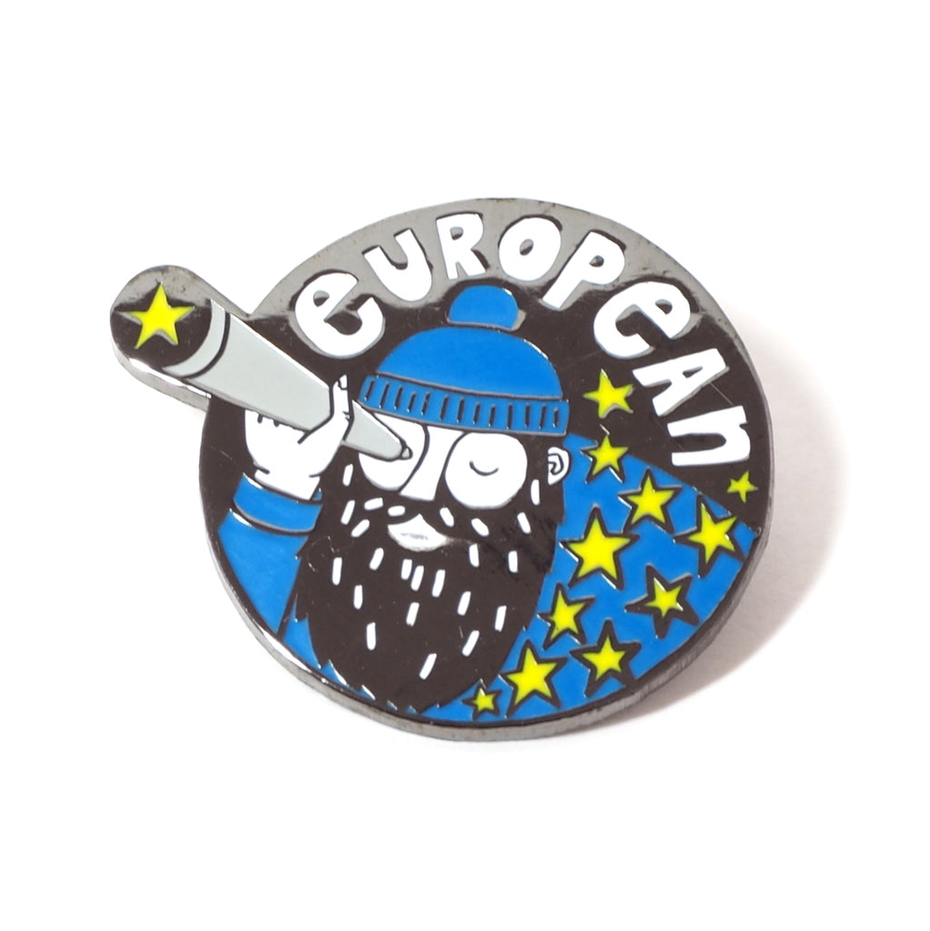 European Man with Beard Enamel Pin with Telescope and Yellow Stars