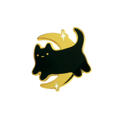 Sparkle Collective Midnight Baby Cat Enamel Pin - black kitten on gold moon